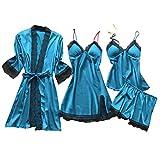 Lazzboy Dessous Frauen Silk Lace Babydoll Nachtwäsche Nachthemd Pyjamas Set Kimono Damen Morgenmantel Satin Bademantel Seide Roben V Ausschnitt Mit Blumenspitze(Hellblau,3XL)