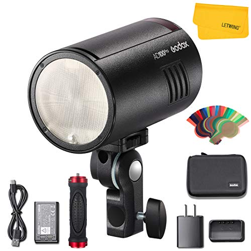 Godox AD100 Pro AD100Pro TTL Pocket Flash, 100W 2.4G Wireless HSS 1 / 8000s, 2600mAh Li-Ion Battery 360 Full-Power Flashes compatibles con Nikon Canon Sony Fujifilm Olympus Panasonic Pentax Camera