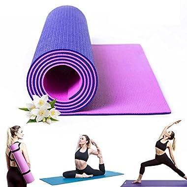 Kamachi Purple/Pink Yoga Mat For Women, Dual Texture Long Yoga Mat And Strap, 1/4 Inch Yoga Pilates Mat, Non Slip Yoga Mat Non Latex, Sweat Proof Yoga Mat 1/4 Inch, Exercise Mat 6mm, Yoga Mat Roll