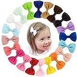 Toruiwa 20X Pinza de Pelo del Arco de Color Puro Accesorios para Pinza de Pelo para niños Niñas Lazos de Cinta grogrén Accesorios para el Pelo 7 * 4CM +4.1CM