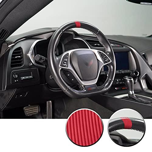 Gomu Steering Wheel Stripe Overlay Pre Cut Graphic Vinyl Decal Compatible with Chevy Corvette C4 C5 C6 C7 C8 1984-2021 - Carbon Fiber Red