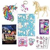 Georgie Porgy 7 en 1 Set de Regalo de Unicornio, incluye Puzzles de Madera de Unicornio, Libro de Cuentos, Proyector de Antorcha, Kit de Pintura de Diamantes, Llavero, 2 Pegatinas de Tatuaje (Unicornio B)
