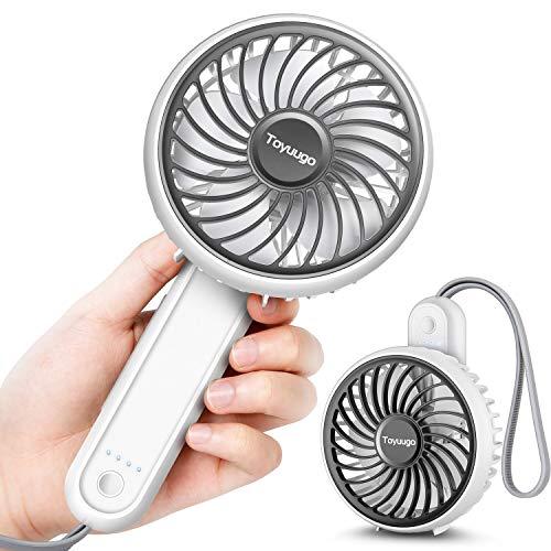 toyuugo Handventilator Klein USB Ventilator Leise 180° Faltbarer 3 Stufen Handventilator Batteriebetrieben 2200 mAh Tischventilator mit Silikon Handschlaufe Luftkühler für Büro Zuhause Reise-Weiß