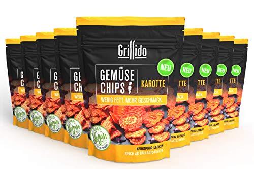 Grillido Gemüse Chips - Karotte I 9er Pack I 9x25g I 100% natürlich I wenig Fett I schonend getrocknet - Vitamine und Ballaststoffe bleiben erhalten