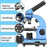 EMARTH Microscopio de ciencias para niños Principiantes Niños estudiantes, microscopios compuestos 40X- 1000X con 52 piezas de kits de ciencias educativas