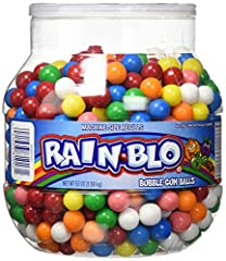 CLASSIC GUMBALLS: With their delicious flavor and vibrant colors, Rain Blo Bubble Gum Balls are a classic bubble gum treat; They feature a colorful hard candy coating that matches the flavor on the inside PERFECT FOR SHARING: Rain Blo gumballs are pe...