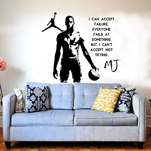 NBA Baloncesto Deportes Estrella Jugador Michael Jordan MJ Citas inspiradoras Etiqueta de la pared Vinilo Arte Calcomanía Fans Dormitorio Sala de estar GYM Club Decoración para el hogar Mural