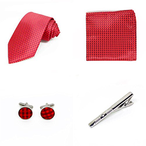 S.R HOME Coffret Cadeau Ensemble Cravate homme, Mouchoir de poche, épingle et boutons de manchette a points Rouge
