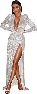 DEIVE TEGER Sexy Sequins Deep V Neck Long Sleeve Side Silver Slit Bodycon Long Dress
