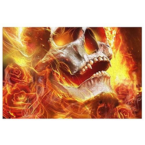 FFLSDR Felpudo Alfombra de Entrada Antideslizante Alfombra de Fuego Calavera Flaming Rose Home Entrada de PVC Alfombrilla de Patio 40X60CM