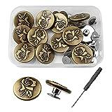 YapitHome 12 Piezas 20MM Botones para Vaqueros Botones de Presion Metalicos Botones de Metal para Reparar Viene con Caja Transparente y Destornillador para Jeans,Camisas,Chaquetas,DIY