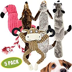 VARIETY AND VALUE; Contains 5 plush dog toys in various animal shapes, colours and materials, including plush and rope. These interactive toys will relieve boredom and create a connection between you and your dog, all for a great value. HIGH QUALITY ...