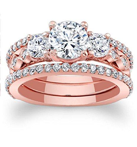 Gowe 1CT moissanites Brautschmuck Sets 14K Rose Gold Verlobungsring Drei Stein Lab gewachsen Diamant