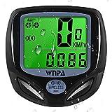WNPA Ciclocomputador inalámbrico para bicicleta, velocímetro impermeable, 16 funciones, cuentakilómetros pantalla LCD para ciclismo