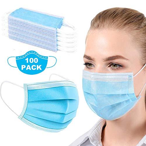 100 Stücke Weich Disposable Mundschutz Maske3-Lagig Masken Staubdicht Einwegesschutzmasken mit Ohrringe, Blau