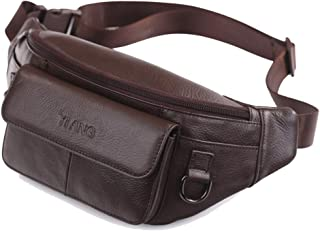 Top Layer Leather Waist Pack, Men's Large Capacity Multi-Function Messenger Bag Leisure Shoulder Bag Mobile Phone Bag for Outdoor Casual Sports Running