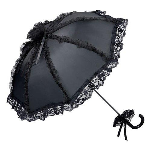 VON LILIENFELD Brautschirm Hochzeitsschirm Damen Klein Accessoire Satinstoff Malisa schwarz