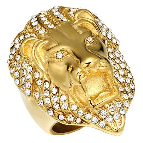 Anillos de Hip Hop de acero inoxidable para hombre Anillo de cabeza de león de circonita cúbica Tamaño 8-12
