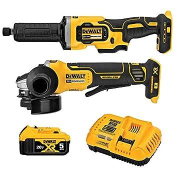 DEWALT 20V MAX XR Angle Grinder Kit 4.5-Inch Paddle Switch Small Angle Grinder and 1-1/2-Inch Die Grinder 2-Tool  DCK203P1