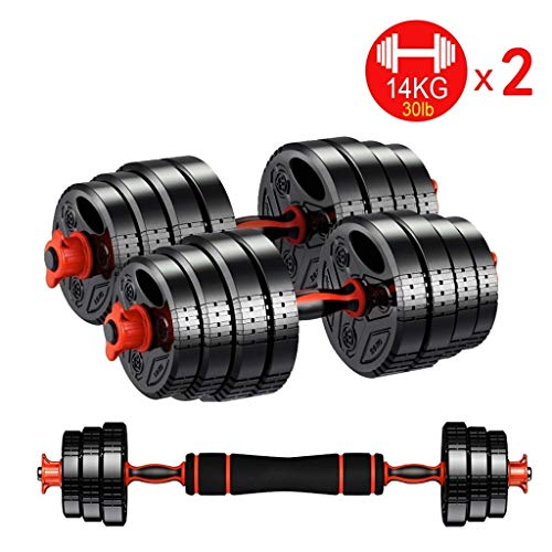 Dumbbells Dumbbells Set Adjustable Dumb Bells with Connector Composition Barbell, for Gym Home Bodybuilding Training Weight Lifting (Size : 14KG/30lb x2)