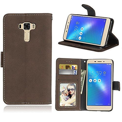 Funda Asus Zenfone 3 Laser ZC551KL Case,Bookstyle 3 Card Slot PU Cuero cartera para TPU Silicone Case Cover(Castaño)