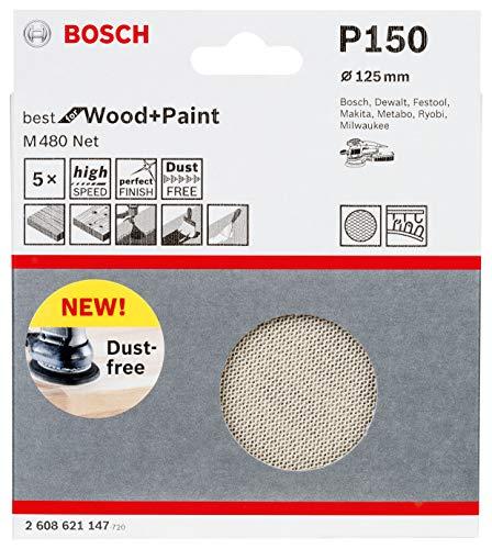 Bosch Professional 5 Stück Schleifblatt M480 Best for Wood and Paint (Holz und Farbe, Ø 125 mm, Körnung P150, Zubehör Exzenterschleifer)
