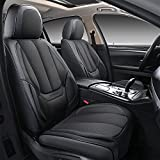 Coverado Front and Back Seat Covers 4 Pieces, Breathable Fabric&Leather Car Seat Protectors Full Set, Compatible with Most Sedans SUV Pick-up Truck, Black