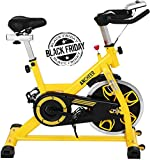 ANCHEER Indoor Cycling Bike, Belt Drive Indoor Exercise Bike with 49LBS Flywheel (Yellow)