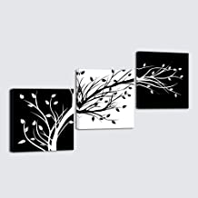 Wieco Art - Leaves Modern 3 Panels Flowers Artwork Giclee Canvas Prints Black and White Abstract Floral Trees Pictures Pai...
