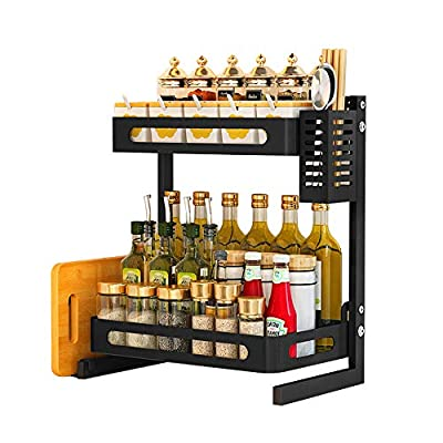 JoyRain Countertop Spice Rack Set, Stainless Steel Kitchen Cabinet Shelf Organizer, Easy Removable Storage Rack with Knife Holder, Cutting Board Holder and Cutlery Holder, Matte Black from
