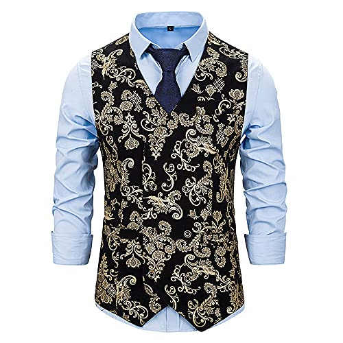 ZYYM Men's Christmas Waistcoat Sleeveless Casual Blazer Vest Prom Formal 3D Christmas Tree Printed Suit Men's Waistcoat Paisley Floral Jacquard Necktie Pocket Square Handkerchief Vest Suit Set