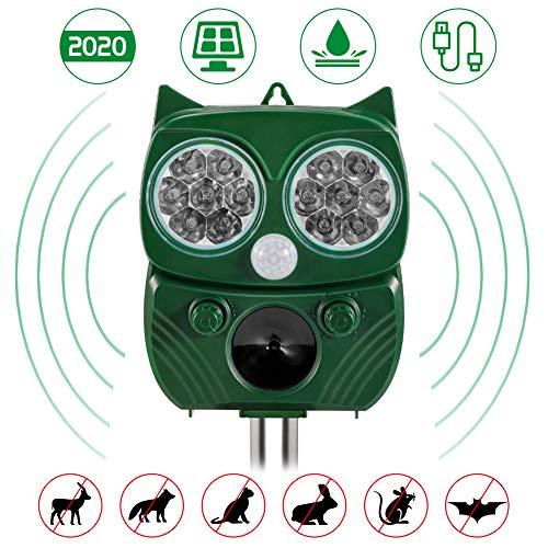 ROTEK Katzenschreck Ultraschallabwehr, Tiervertreiber Ultraschall wasserdichte Solar & 2000mAh Batteriebetrieben Abwehr 5 Modus für Katzen, Eichhörnchen, Hund, Ratten, Tauben, Kaninchen und Füchsen