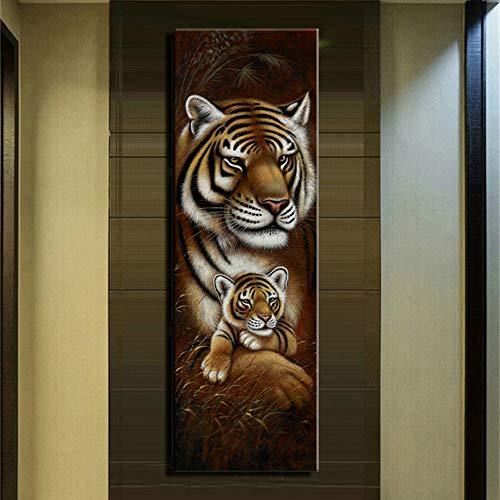 Tijger en olifant canvas muurschildering dier paard en poster en zebra prints klassieke dieren foto frameloze schilderij 45x135cm