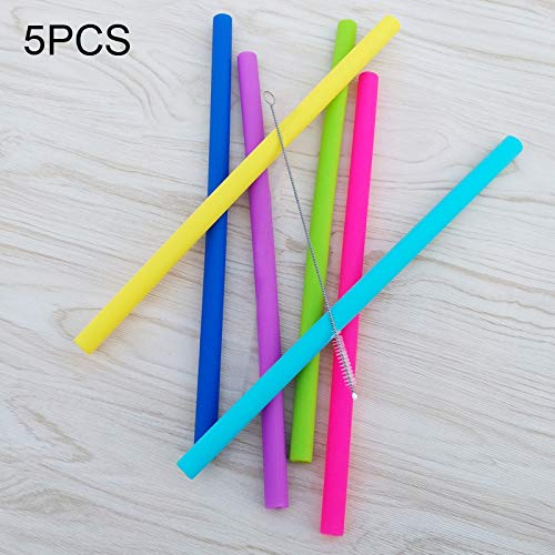 Colorful Drink Tools voor dranken, kleurrijk, strikje, siliconen rietje, 5 stuks, met 1 kwast, rechte slang, lengte: 14 cm, buitendiameter: 10 mm, binnendiameter: