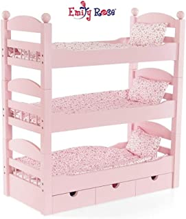 Emily Rose 18 Inch Doll Furniture | 3 Single Stackable Doll Beds in One! Triple Bunk Bed and Doll Clothes Storage Drawer | Fits 18