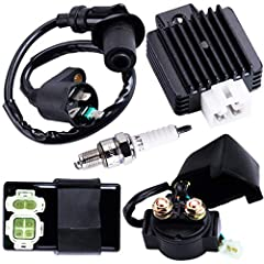 Ignition rebuild kit, 100% Brand New 4+2 pin AC CDI,ignition coil,4 pin voltage regulator,2 pin solenoid relay, Spark plug Fit for 4 stroke GY6 50-150cc 125cc engine like ATV taotao kymco Scooter Moped Please check all the connectors with your stock ...