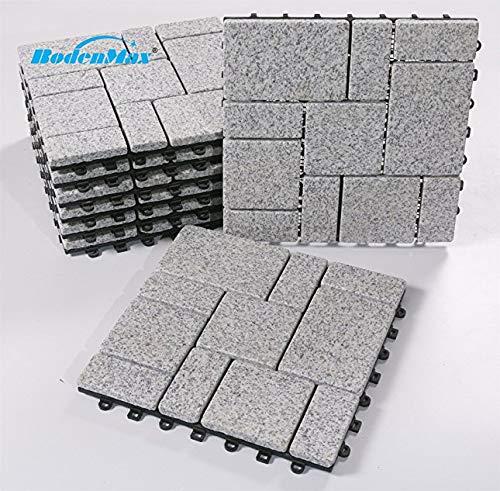 BodenMax graniet klik vloertegels set 30 x 30 cm terrastegels terrasplaat steen tegel kliktegels (8 stuks) Granit-roma Muster