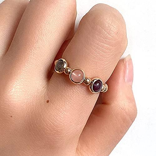 KEJI Anillos de cuentas de color plata de oro vintage para las mujeres hechos a mano piedra natural anillos de fiesta de boda elástico mucho a granel