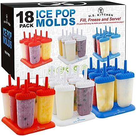 U.S. Kitchen Supply 18-Piece Classic Reusable Jumbo Ice Pop Mold  Set