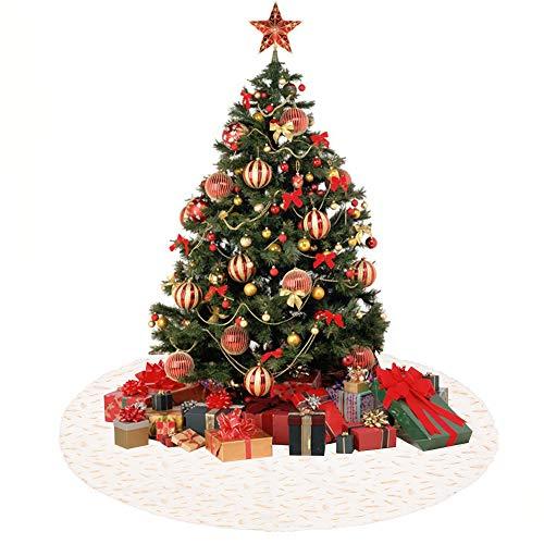 Anyingkai Base Albero Natale Peluches,Gonna Albero di Natale,Copri Base Albero Natale,Copri Base Albero,Finta Pelliccia Albero di Natale,Christmas Tree Skirt (Piuma Bianca, 90cm)