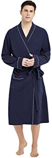 Mens Cotton Robe Lightweight Knit Bathrobe
