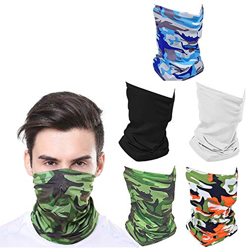 OGPIGGJA 5 Pack Protection Neck Gaiter Breathable UV Sunscreen, Unisex Elastic Face Cover Bandana Cooling Scarf Cover for Cycling Fishing Hunting