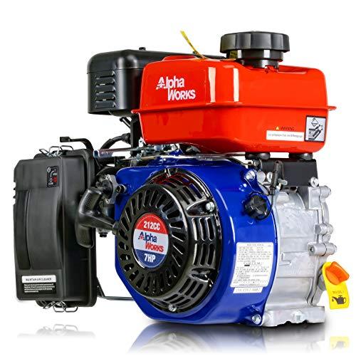 AlphaWorks Gas Engine 7HP 212cc Motor Horizontal 4 Stroke OHV Recoil Start 3800RPM 8.85Ft-Lbs/12Nm Torque 1/4' Keyway 3/8'-24 UNF End Tapped Go Kart Log Splitter EPA/CARB Certified