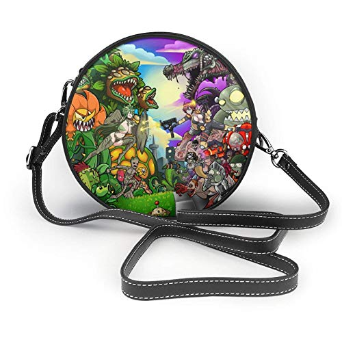 XCNGG Telefontasche Plants Vs Zombies Ladies Fashion Round Crossbody Zipper Shoulder Bag Soft Leather Ring Wallet Mobile Phone Bag Coffee
