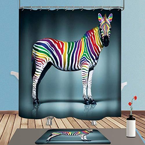 ENCOFT Duschvorhang Anti-Schimmel Wasserdicht Polyester mit 12 Duschvorhangringe Waschbar 180x180 Zebra