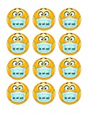 Emoji with Mask - Edible Cupcake Toppers - 2' cupcake (12 pieces/sheet)