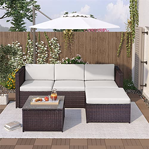 Moskado Rattan Garden Furniture Set,Outdoor Patio Conservatory Corner Sofa Set Rattan Dining Set with Coffee Table, All-Weather Rattan Chair for Yard,Pool Or Backyard