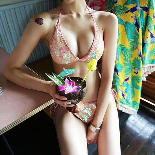 WAZR Maillot De Bain, Petit Parfum, Triangle Sexy Brillant, Grosse Poitrine, Bikini De Bain Aux Sources Chaudes