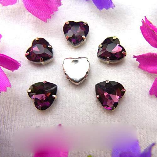 Configuración de garra de cristal de plata de cristal 7 tamaños Varios colores mezcla en forma de corazón Coser cuentas de diamantes de imitación prendas de vestir zapatos accesorios de bricolaje