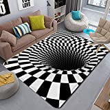 3D Carpet Bottomless Hole Optical Illusion Area Rug, Checkered Vortex Optical Illusions Rug, for Dining Room Carpet Home Bedroom Floor Mat (80x120cm)